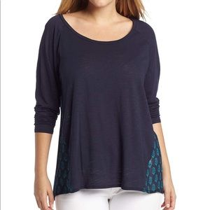 Lucky Brand Durham Print Long Sleeve Sheer Back